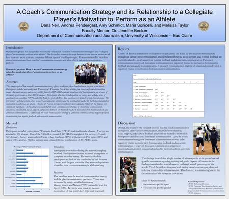 A Coach's Communication Strategy and its Relationship to a Collegiate Player's Motivation to Perform as an Athlete Dana Neil, Andrea Pendergast, Amy Schmidt,