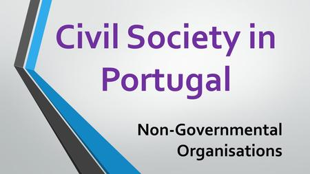 Civil Society in Portugal Non-Governmental Organisations.