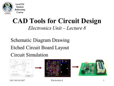 LSU 06/04/2007Electronics 81 CAD Tools for Circuit Design Electronics Unit – Lecture 8 Schematic Diagram Drawing Etched Circuit Board Layout Circuit Simulation.