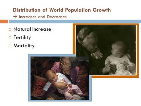 Distribution of World Population Growth  Increases and Decreases  Natural Increase  Fertility  Mortality.