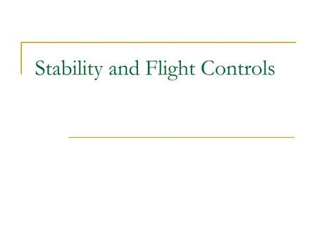 Stability and Flight Controls. Three Axes of Flight Longitudinal (green)  Nose to tail Lateral (blue)  Wing tip to Wing tip Vertical (red)  Top to.