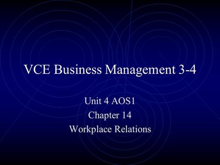 VCE Business Management 3-4