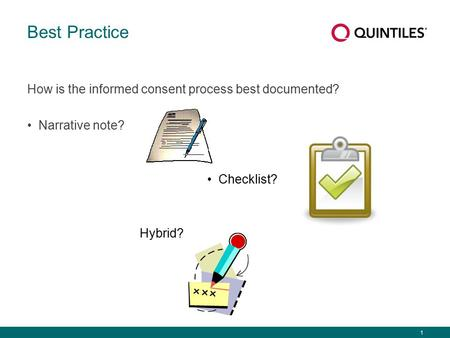 1 Best Practice How is the informed consent process best documented? Narrative note? Checklist? Hybrid?