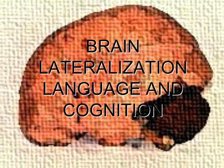 BRAIN LATERALIZATION LANGUAGE AND COGNITION. CEREBRAL LATERALIZATION  Significant Events in History Marc Dax (1836)Marc Dax (1836)  Dax was the first.