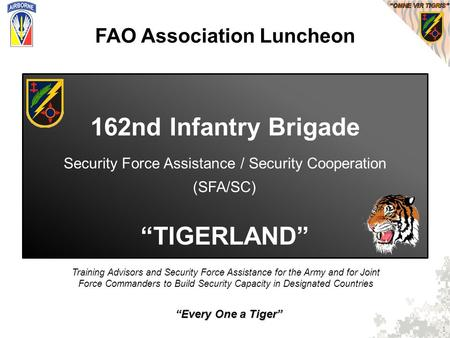 """Every One a Tiger"" Training Advisors and Security Force Assistance for the Army and for Joint Force Commanders to Build Security Capacity in Designated."