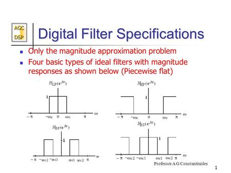 AGC DSP AGC DSP Professor A G Constantinides 1 Digital Filter Specifications Only the magnitude approximation problem Four basic types of ideal filters.