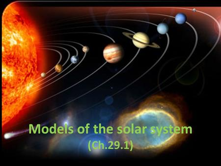 Models of the solar system (Ch.29.1). 1 st model of the solar system Aristotle (300's BC) said solar system was geocentric.