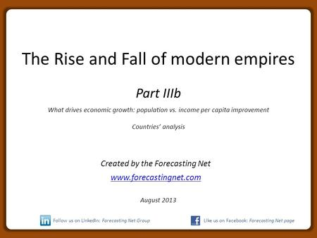 The Rise and Fall of modern empires Part IIIb What drives economic growth: population vs. income per capita improvement Countries' analysis Created by.