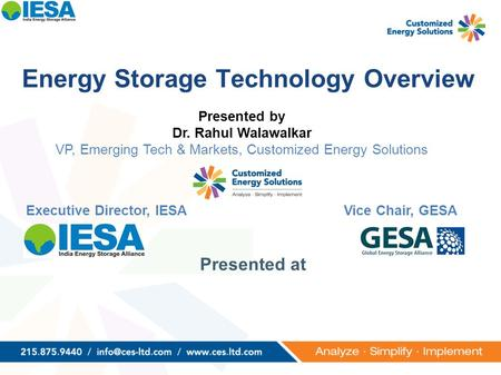 Presented by Dr. Rahul Walawalkar VP, Emerging Tech & Markets, Customized Energy Solutions Executive Director, IESAVice Chair, GESA Energy Storage Technology.