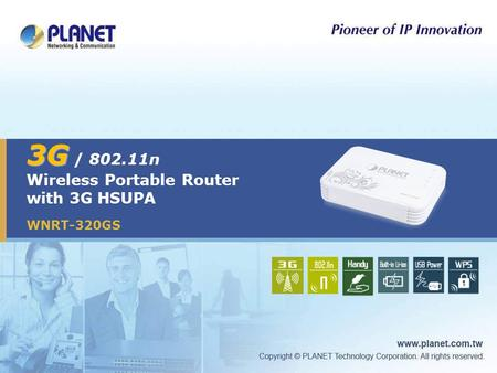 3G 3G / 802.11n Wireless Portable Router with 3G HSUPA WNRT-320GS.