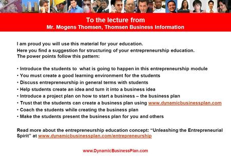 To the lecture from Mr. Mogens Thomsen, Thomsen Business Information