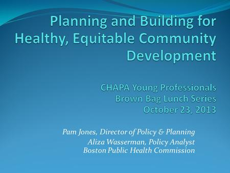 Pam Jones, Director of Policy & Planning Aliza Wasserman, Policy Analyst Boston Public Health Commission.