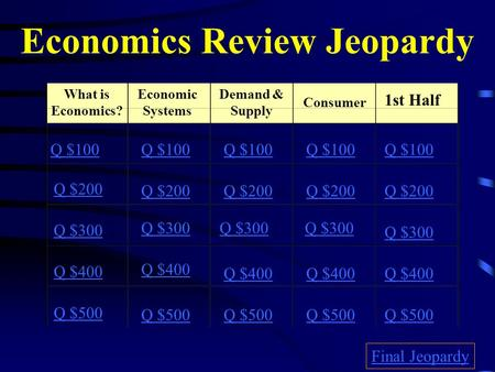 Economics Review Jeopardy What is Economics? Economic Systems Demand & Supply Consumer 1st Half Q $100 Q $200 Q $300 Q $400 Q $500 Q $100 Q $200 Q $300.