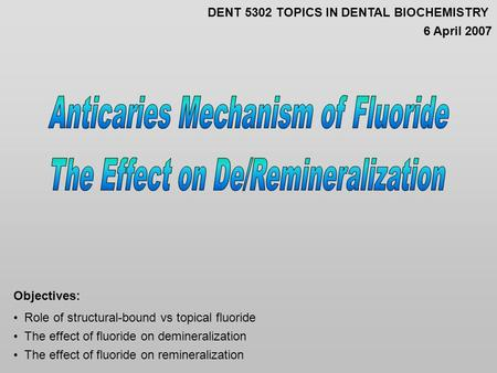 Role of structural-bound vs topical fluoride The effect of fluoride on demineralization The effect of fluoride on remineralization Objectives: DENT 5302.
