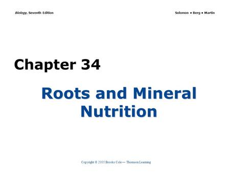 Copyright © 2005 Brooks/Cole — Thomson Learning Biology, Seventh Edition Solomon Berg Martin Chapter 34 Roots and Mineral Nutrition.
