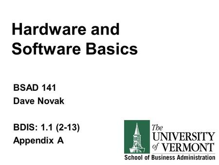 Hardware and Software Basics BSAD 141 Dave Novak BDIS: 1.1 (2-13) Appendix A.