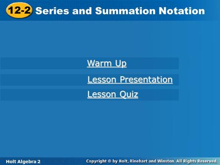 Series and Summation Notation