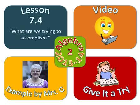 Objective Video Example by Mrs. G Give It a Try Lesson 7.4  Identify and graph parent functions of the following families of functions: Linear Absolute.