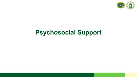 Psychosocial Support. 2 RESEARCH INSTITUTE FOR TROPICAL MEDICINE Objective Identify psychosocial support needs of the Patient, Family, Community, and.