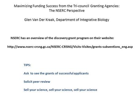 NSERC has an overview of the discovery grant program on their website: