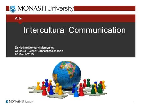 Arts Intercultural Communication Dr Nadine Normand-Marconnet Caulfield – Global Connections session 9 th March 2015.