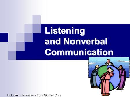 Listening and Nonverbal Communication Includes information from Guffey Ch 3.