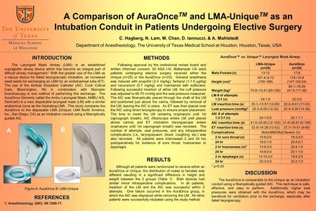 A Comparison of AuraOnce TM and LMA-Unique TM as an Intubation Conduit in Patients Undergoing Elective Surgery C. Hagberg, N. Lam, M. Chan, D. Iannucci,
