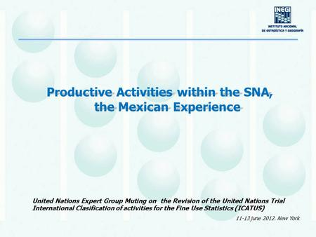 Productive Activities within the SNA, the Mexican Experience United Nations Expert Group Muting on the Revision of the United Nations Trial International.