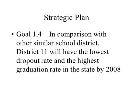 Strategic Plan Goal 1.4 In comparison with other similar school district, District 11 will have the lowest dropout rate and the highest graduation rate.