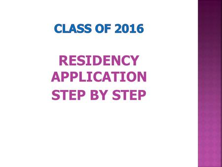 RESIDENCY APPLICATION
