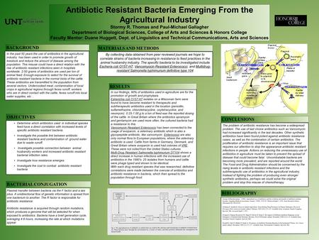 Antibiotic Resistant Bacteria Emerging From the Agricultural Industry Stormy R. Thomas and Paul-Michael Gallagher Department of Biological Sciences, College.