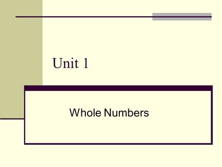 Unit 1 Whole Numbers. 2 PLACE VALUE The value of any digit depends on its place value Place value is based on multiples of 10 as follows: UNITSTENSHUNDREDSTHOUSANDS.