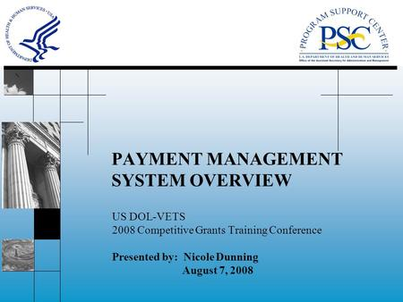PAYMENT MANAGEMENT SYSTEM OVERVIEW US DOL-VETS 2008 Competitive Grants Training Conference Presented by: Nicole Dunning August 7, 2008.