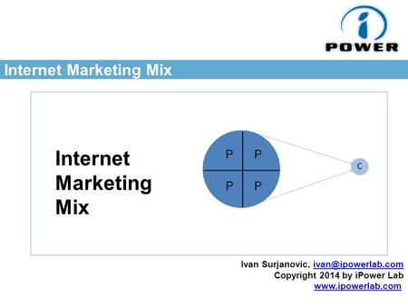 Internet <strong>Marketing</strong> <strong>Mix</strong> Ivan Surjanovic, Copyright 2014 by iPower Lab