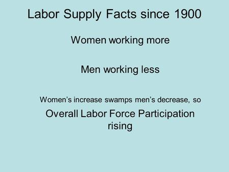 Labor Supply Facts since 1900 Women working more Men working less Women's increase swamps men's decrease, so Overall Labor Force Participation rising.