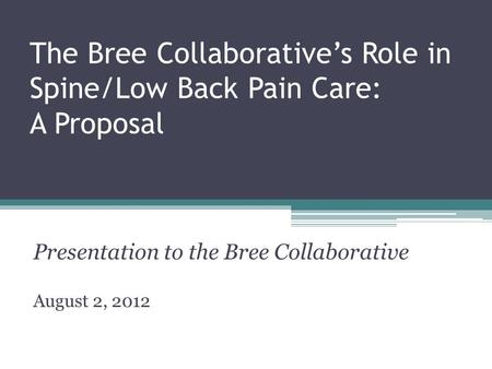 The Bree Collaborative's Role in Spine/Low Back Pain Care: A Proposal