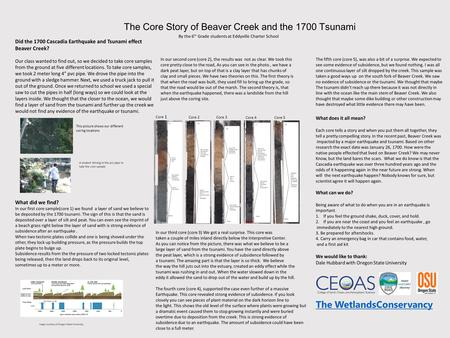 The Core Story of Beaver Creek and the 1700 Tsunami Did the 1700 Cascadia Earthquake and Tsunami effect Beaver Creek? Our class wanted to find out, so.
