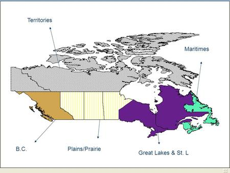 Maritimes Great Lakes & St. L Plains/PrairieB.C. Territories.