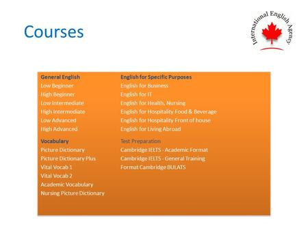 Courses. General English 1. Low Beginner Overview: Low Beginner enables learners to gain a general knowledge of basic English through learning how to.