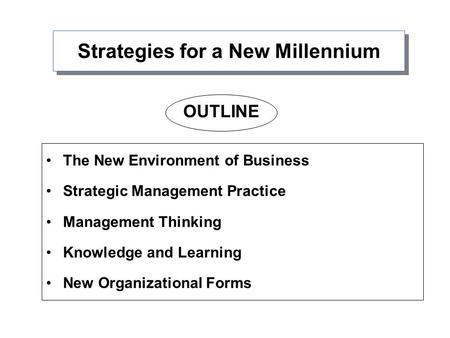Strategies for a New Millennium The New Environment of Business Strategic Management Practice Management Thinking Knowledge and Learning New Organizational.