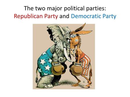 The two major political parties: Republican Party and Democratic Party.