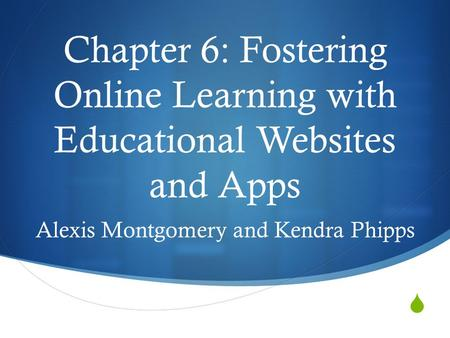  Chapter 6: Fostering Online Learning with Educational Websites and Apps Alexis Montgomery and Kendra Phipps.