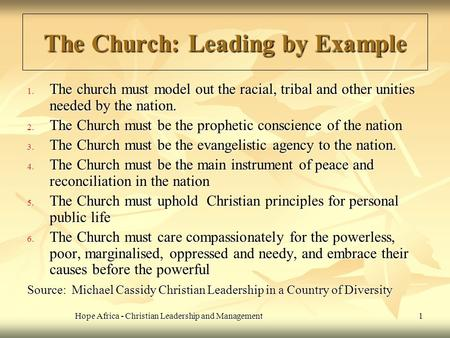 The Church: Leading by Example