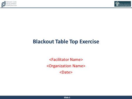 Blackout Table Top Exercise