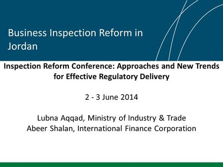 Inspection Reform Conference: Approaches and New Trends for Effective Regulatory Delivery 2 - 3 June 2014 Lubna Aqqad, Ministry of Industry & Trade Abeer.