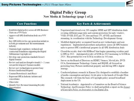Sony Pictures Technologies – FY13 Three Year Plan 1 Core FunctionsKey Facts & Achievements Digital Policy Group New Media & Technology (page 1 of 2) 