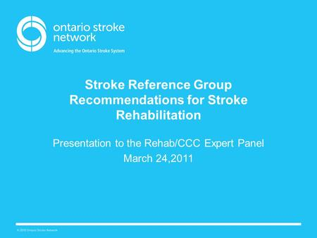 Stroke Reference Group Recommendations for Stroke Rehabilitation Presentation to the Rehab/CCC Expert Panel March 24,2011.