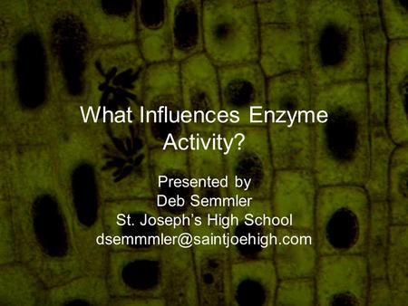 What Influences Enzyme Activity? Presented by Deb Semmler St. Joseph's High School