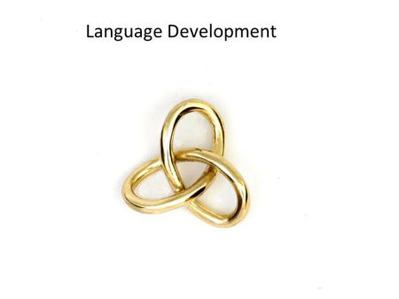 Language Development Language and thought are intertwined. Both abilities involve using symbols. We are able to think and talk about objects that are not.