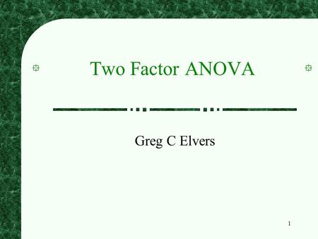 1 Two Factor ANOVA Greg C Elvers. 2 Factorial Designs Often researchers want to study the effects of two or more independent variables at the same time.